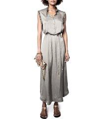 women's zadig & voltaire raos tie waist satin maxi dress, size medium - grey