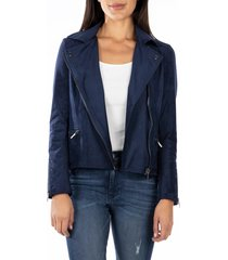 women's kut from the kloth faux suede eveline jacket, size large - blue