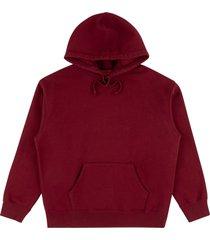 supreme rhinestone script hoodie - red