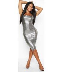 metallic strappy midi dress, silver