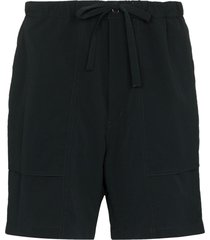 snow peak noragi tie-front track shorts - black
