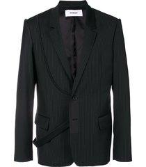 chalayan strap pinstripe suit jacket - black