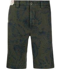 incotex floral straight-leg shorts - green
