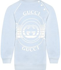 gucci light blue sweatshirt for babykids with logos