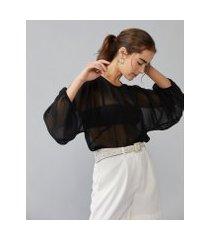 amaro feminino blusa cropped manga longa bufante, preto