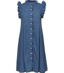 soft indigo debra jurk knielengte blauw mads nørgaard