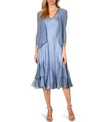 women's komarov beaded v-neck charmeuse dress with chiffon jacket