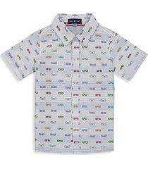 andy & evan little boy's sunglasses-print cotton shirt - light blue - size 2t