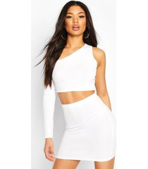 asymetric one shoulder top & skirt co-ord set, white