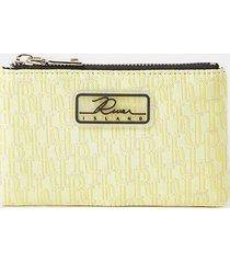 river island womens yellow jacquard mini zip pouch purse