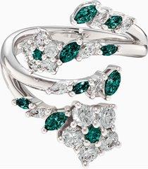 anello aperto botanical, verde, placcato rodio