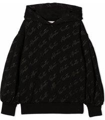 alberta ferretti black cotton hoodie