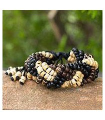 coconut shell braided bracelet, 'brown forest' (thailand)