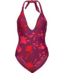 halter piece baddräkt badkläder röd seafolly