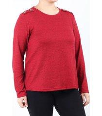 sweater rojo minari botones plus size