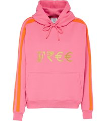 free' gold-toned embroidered slogan currency hoodie