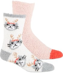 jenni women's 2-pk. reindeer-cat & solid super soft cozy fuzzy socks, created for macy's