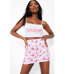 'babe' slogan top and butterfly print skirt co-ord, pink
