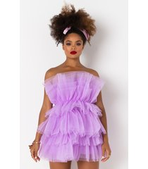 akira more to give strapless tulle mini dress