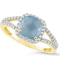 blue topaz (1-5/8 ct. t.w.) and created white sapphire (1/4 ct. t.w.) ring in 10k yellow gold