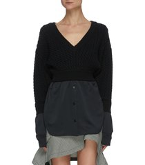 contrast shirting hem cable knit sweater