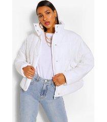 gewatteerde jas met hoge hals met zakdetail, ecru