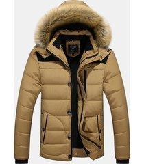 uomo giacca cappotto incappuciato invernale pesante in pelliccia calda a grane taglia