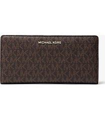 mk portafoglio sottile grande con logo - marrone - michael kors