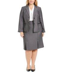 le suit plus size pleated-hem skirt suit