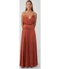red ochre draped backless gown