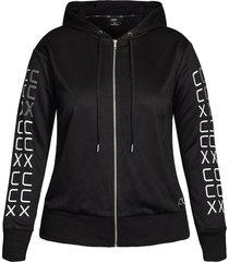 plus size women's city chic let's go zip logo hoodie, size x-small - black