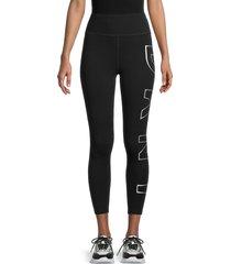 dkny women's exploded foil logo leggings - black silver - size l