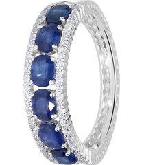 anello in oro bianco, zaffiri 1,20 ct e diamanti 0,22 ct per donna
