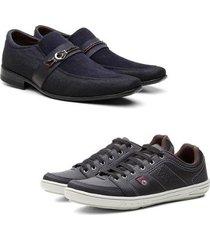 kit sapato casual e sapatênis bkarellus casual caminhada conforto leve masculino - masculino