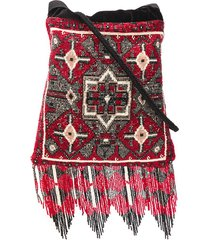 etro beaded fringed clutch bag - red