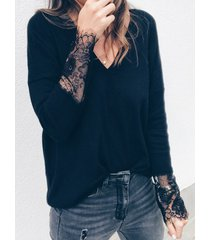 black lace v-neck long sleeves knit top