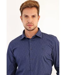 camisa forum reta estampada azul-marinho