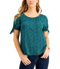 style & co printed off-the-shoulder tie-sleeve top, created for macy's