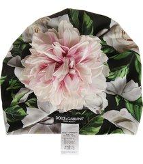 dolce & gabbana floral applique & printed beanie