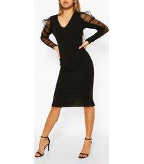 dobby mesh organza puff sleeve midi dress, black