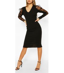 dobby organza midi-jurk van mesh met pofmouwen, zwart