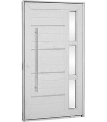 porta pivotante lambris horizontais com friso, vidro e puxador alumínio branco 243,5x146,2x12cm esquerda aluminium - 72440129 - sasazaki - sasazaki