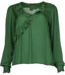 blouse met ruches mary  groen