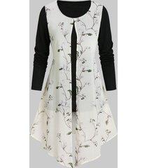 floral print front slit overlay t shirt