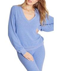 women's wildfox deep v-neck baggy beach jumper pullover, size x-large - blue