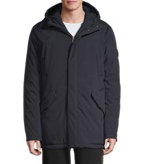 roberto cavalli men's hooded winter jacket - blue - size xxl