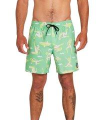 men's volcom sink or swim swim trunks, size xx-large - green