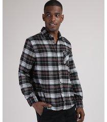 camisa de flanela masculina tradicional estampada xadrez com bolso manga longa preta