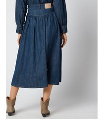 see by chloé women's midi denim skirt - denim - eu 38/uk 10