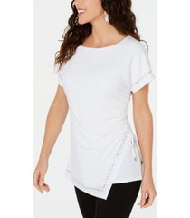 jm collection embellished ruched side-tie top, created for macys